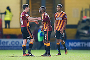 Bradford City midfielder, on loan from West Ham United, Josh Cullen (14)  and Bradford City midfielder Mark Marshall (7) celebrate the victory after the EFL Sky Bet League 1 match between Bradford City and Chesterfield at the Northern Commercials Stadium at Valley Parade, Bradford, England on 7 January 2017. Photo by Simon Davies.