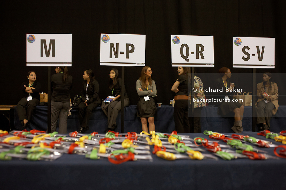 Name badges await owners at a corporate rally day, held for 3,000 UK staff at Excel, Docklands.
