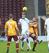 Dundee&rsquo;s Gary Irvine out jumps Motherwell&rsquo;s Louis Moult - Motherwell v Dundee - Ladbrokes Premiership at Fir Park<br /> <br /> <br />  - &copy; David Young - www.davidyoungphoto.co.uk - email: davidyoungphoto@gmail.com