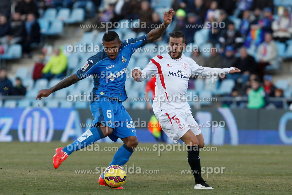 08.02.2015, Coliseum Alfonso Perez, Madrid, ESP, Primera Division, FC Getafe vs FC Sevilla, 22. Runde, im Bild Getafe&acute;s Sammir (L) and Sevilla&acute;s Diego // uring the Spanish Primera Division 22nd round match between Getafe FC and Sevilla FC at the Coliseum Alfonso Perez in Madrid, Spain on 2015/02/08. EXPA Pictures &copy; 2015, PhotoCredit: EXPA/ Alterphotos/ Victor Blanco<br /> <br /> *****ATTENTION - OUT of ESP, SUI*****
