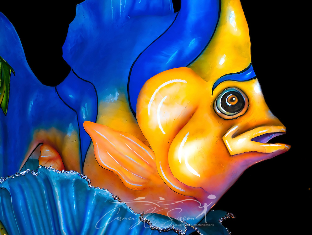A fish towers over a float during the Order of Inca Mardi Gras parade in downtown Mobile, Ala. Feb. 25, 2011. An estimated 84,484 people attended the parade in Mobile, which claims to have the oldest carnival celebration in the United States, dating back to 1703. (Photo by Carmen K. Sisson/Cloudybright)