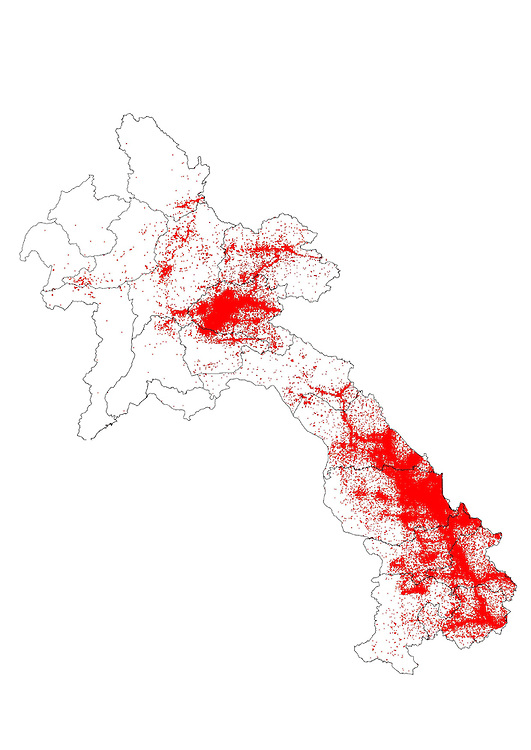 Map of Laos, showing UXO leftover from the Vietnam War. Red areas indicate UXO density. The area with the highest UXO density is along the old Ho Chi Minh Trail, along Laos' southern border with Vietnam.