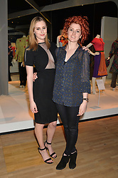 Left to right, sisters LAURA CARMICHAEL and AMY CARMICHAEL at a VIP preview of the V&A's new exhibition 'The Glamour of Italian Fashion' - a comprehensive look at Italian Fashion from 1945-2014 held at The Victoria & Albert Museum, London on 2nd April 2014.
