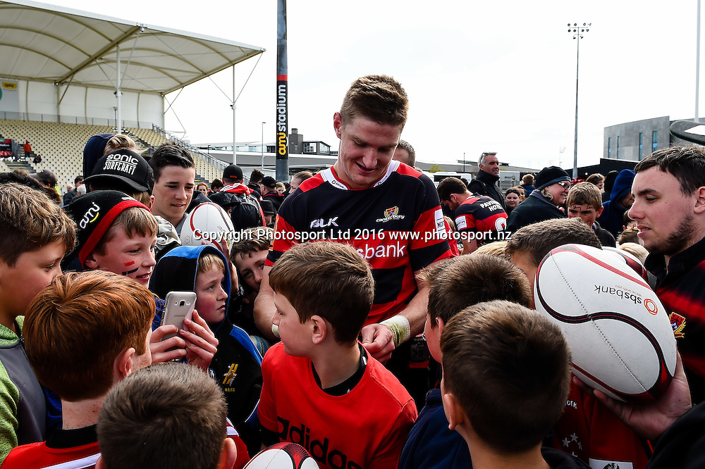Jordie Barrett of Canterbury with fans during the Mitre 10 Cup Semi Final Rugby Match, Canterbury V Counties Manukau, AMI Stadium, Christchurch, New Zealand. 23th October 2016. Copyright Photo: John Davidson / www.photosport.nz