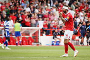 Man of the match Nottingham Forest defender Danny Fox (4)  celebrates after the EFL Sky Bet Championship match between Nottingham Forest and Reading at the City Ground, Nottingham, England on 11 August 2018.