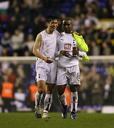 London, England - Wednesday, March 14, 2007: Tottenham Hotspur's Young-Pyo LEe and Jermain Defoe celebrate victory against SC Braga during the UEFA Cup match at White Hart Lane. (Pic by Chris Ratcliffe/Propaganda)