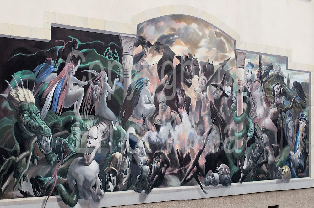Wandgemälde Walpurgis und Götterdämmerung von Hans Joachim Triebsch, Thale, Harz, Sachsen-Anhalt, Deutschland | wall painting Walpurgis und Goetterdaemmerung, Thale, Harz, Saxony-Anhalt, Germany