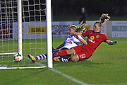 Jasmine Swarbrick scores to make it 1-1  during the FA Women's Lancashire Cup Final match between Preston North End Ladies and Blackburn Rovers Women at the County Ground, Leyland, United Kingdom on 28 April 2016. Photo by Pete Burns.