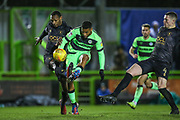 Forest Green Rovers Reuben Reid(26) shoots at goal misses the target during the EFL Sky Bet League 2 match between Forest Green Rovers and Mansfield Town at the New Lawn, Forest Green, United Kingdom on 29 January 2019.