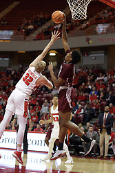 08 February 2018:  Kavion Pippen pulls in a pass that Taylor Bruninga just misses stealing during a College mens basketball game between the Southern Illinois Salukis and Illinois State Redbirds in Redbird Arena, Normal IL