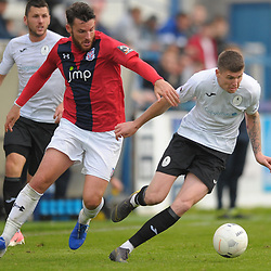 TELFORD COPYRIGHT MIKE SHERIDAN Sean Newtown of York (formerly of AFC Telford) battles for the ball with Matt Stenson of Telford during the National League North fixture between AFC Telford United and York City at the New Bucks Head on Saturday, October 12, 2019.<br /> <br /> Picture credit: Mike Sheridan<br /> <br /> MS201920-025
