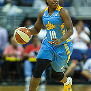 Chicago Sky Guard EPIPHANNY PRINCE (10) dribbles the ball up court in the second quarter of an WNBA regular season basketball game between the Chicago Sky  and the Washington Mystics Wednesday, July. 24, 2013 at The Verizon center in Washington DC.