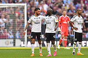 Fulham defender Ryan Fredericks (2) talks with Fulham striker Aboubakar Kamara (47) during the EFL Sky Bet Championship play-off final match between Fulham and Aston Villa at Wembley Stadium, London, England on 26 May 2018. Picture by Jon Hobley.