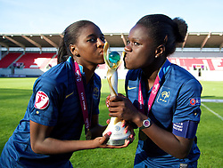 31.08.2013, Parc y Scarlets, Llanelli, ENG, UEFA Damen U19 EM, England vs Frankreich, Finale, im Bild France's Aissatou Tounkara [l] and Griedge M'Bock Bathy [r] celebrate with the trophy after beating England during the final UEFA women U 19 championchip match between England and france at Parc y Scarlets in Llanelli, Great Britain on 2013/08/31. EXPA Pictures © 2013, PhotoCredit: EXPA/ Propagandaphoto/ David Rawcliffe<br /> <br /> ***** ATTENTION - OUT OF ENG, GBR, UK *****