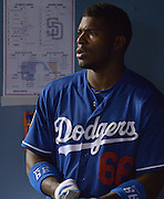Los Angeles Dodgers right fielder Yasiel Puig #66. The Los Angele Dodgers played the Los Angeles Angels of Anaheim in the 2nd game of the pre-season freeway series at Dodger Stadium in Los Angeles, CA.  April 1, 2016.  (Photo by John McCoy/Los Angeles News Group)