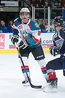 KELOWNA, CANADA - JANUARY 11: Cole Martin #8 of the Kelowna Rockets skates on the ice against the Tri City Americans at the Kelowna Rockets on January 11, 2013 at Prospera Place in Kelowna, British Columbia, Canada (Photo by Marissa Baecker/Shoot the Breeze) *** Local Caption ***