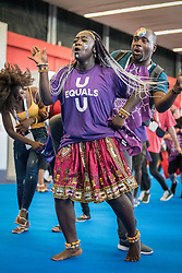 25 July 2018, Amsterdam, the Netherlands: Campaigners for the U=U Prevention Access Campaign dance in the Global Village area of the International AIDS Conference 2018. The phrase U=U campaign states that if an HIV positive persons viral load is so low it's undetectable, then the virus is not transmittable, thus Undetectable = Untransmittable, U=U. The Global Village is an integral part and recurring feature of the International AIDS Conference, held in 2018 in Amsterdam, the Netherlands, and offers an accessible venue intended to strengthen the connection between the international conference and the local hosting community.