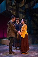 Romeo (Jack Harding), Friar Laurence (Christian Ayer) and Juliet (Emily Casko) during dress rehearsal for Romeo and Juliet at the Winnipesaukee Playhouse.  (Karen Bobotas/for the Laconia Daily Sun)