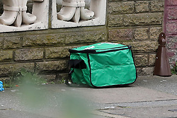 © Licensed to London News Pictures. 31/03/2019. London, UK. A first aid box near the crime scene on Aberdeen Road in Edmonton, north London where a woman was stabbed just after 7pm on Saturday 30 March. According to the Met Police, victim is in a critical condition. Photo credit: Dinendra Haria/LNP
