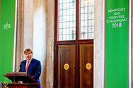 AMSTERDAM - King Willem-Alexander during the ceremony of the Royal Prize for Free Painting 2018 at the Royal Palace.  copyright robin utrecht