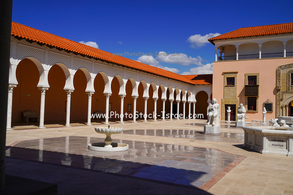 The courtyard of the Sephardi memorial section of the Ralli Museum in Caesarea, Israel. Both are part of the international foundation Ralli Museums. Created by Harry Recanati to exhibit contemporary Latin American Art, commemorate the expulsion of Jews from Spain and Portugal during the Inquisition and preserve the history and art of the Jewish Community of Thessaloniki, which was almost destroyed in the Holocaust