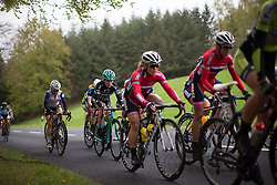 Hannah Payton (GBR) of Drops Cycling Team focuses on the longest climb of the first, 106.9km road race stage of Elsy Jacobs - a stage race in Luxembourg, in Steinfort on April 30, 2016