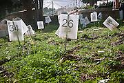 Palermo, cimitero dei rotoli, tombe senza nome dei migranti morti nel Mediterraneo senza essere identificati.<br /> Palermo, cemetery, the nameless tombs of the migrants who died in Mediterranean sea