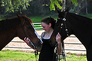 Teenager girl takes care of a horse