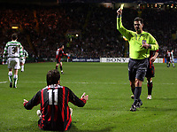 Photo: Paul Thomas.<br /> Glasgow Celtic v AC Milan. UEFA Champions League. Last 16, 1st Leg. 20/02/2007.<br /> <br /> Referee (Yellow) Terje Hauge gives Milan's Alberto Gilardino (11) a yellow card for diving in the box.