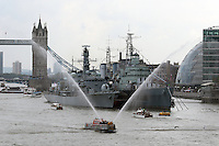 To mark the day on which Queen Elizabeth II becomes the longest reigning monarch in British history, a flotilla of historic vessels, leisure cruisers and passenger boats took part in a A Royal River Salute on the River Thames at Tower Bridge in front of HMS Belfast.