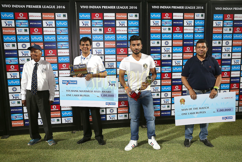 The Post Match Presentation Party during match 28 of the Vivo IPL 2016 (Indian Premier League) between the Gujarat Lions and the Kings XI Punjab held at Saurashtra Cricket Association Stadium, Rajkot, India on the 1st May 2016<br /> <br /> Photo by Shaun Roy / IPL/ SPORTZPICS