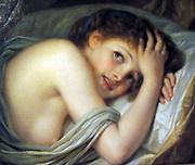 Painting called 'Girl Lying in Bed'. Jean Baptise Greuze