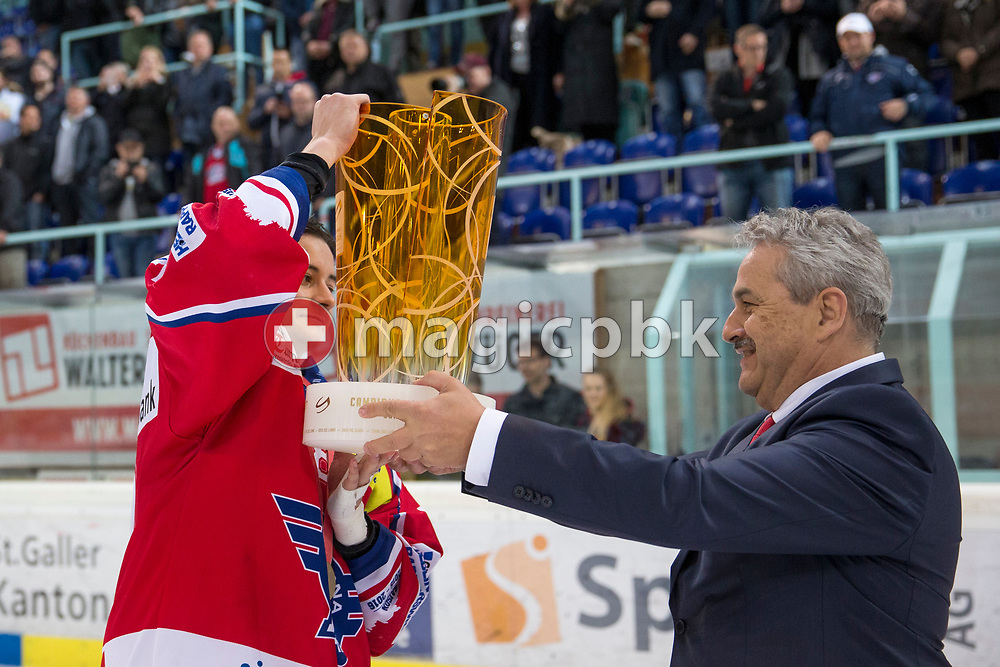 Rapperswil-Jona Lakers captain Siro Rutzer receives the Swiss Championships trophy after his team won the fifth Elite B Playoff Final ice hockey game between Rapperswil-Jona Lakers and ZSC Lions held at the SGKB Arena in Rapperswil, Switzerland, Sunday, Mar. 19, 2017. (Photo by Patrick B. Kraemer / MAGICPBK)