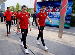 NANNING, CHINA - Wednesday, March 21, 2018: Wales' James Chester and Ryan Hedges during a team walk near the Wanda Realm Resort ahead of the 2018 Gree China Cup International Football Championship. (Pic by David Rawcliffe/Propaganda)