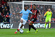 Raheem Sterling (7) of Manchester City battles for possession with Nathaniel Clyne (23) of AFC Bournemouth during the Premier League match between Bournemouth and Manchester City at the Vitality Stadium, Bournemouth, England on 2 March 2019.