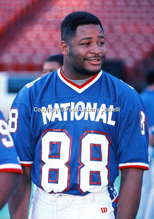 Philadelphia Eagles tight end Keith Jackson (88) smiles during photo day during the week of the 1990 NFL Pro Bowl between the National Football Conference and the American Football Conference on Jan. 30, 1990 in Honolulu. The NFC won the game 27-21. (©Paul Anthony Spinelli)