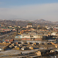 Mongolia. Ulaanbaatar. general view of the city and Gandan monastery yurt district, in winter  Ulan Baatar - Mongolia    /   Vue generale du quartier du monastere de Gandan en hiver  Oulan Bator - Mongolie