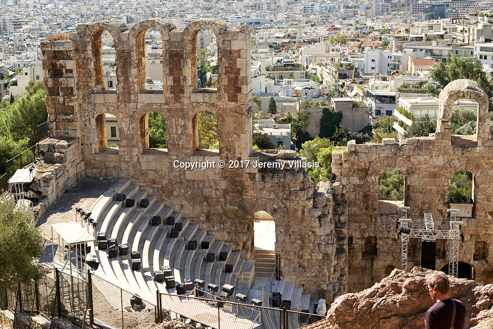 Odeon of Herodes Atticus on the southwest slope of the Acropolis was completed in 161 AD and was named after Herodes Atticus of Marathon, who built it in memory of his wife Aspasia Annia Regilla.