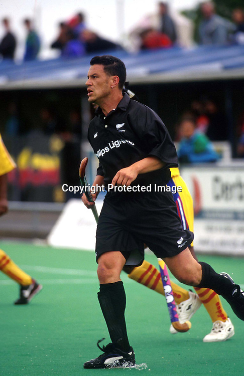 Brett Leaver of New Zealand in action against Malaysia in 1998. NZ Mens Hockey. Photo: Richard Simpson/Photosport.co.nz