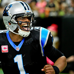 Oct 16, 2016; New Orleans, LA, USA; Carolina Panthers quarterback Cam Newton (1) reacts after throwing a touchdown during the fourth quarter of a game against the New Orleans Saints at the Mercedes-Benz Superdome. The Saints defeated the Panthers 41-38. Mandatory Credit: Derick E. Hingle-USA TODAY Sports