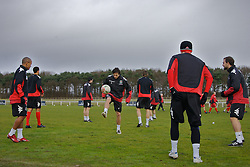 CHESTER, ENGLAND - Monday, February 4, 2008: Wales' Simon Davies (C) training with Robert Earnshaw (L) and Craig Morgan (R) during training at the Carden Park Hotel ahead of their friendly match against Norway. (Photo by David Rawcliffe/Propaganda)