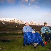 Helga Björt Möller and Óliver Hilmarsson with mt. 1124m. in the back. Flateyjardalur, Iceland.