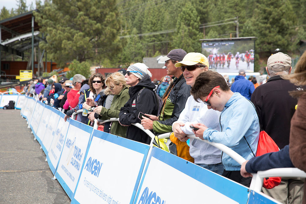 Spectators line the finish line Thursday, May 19, 2016 during stage five of the Amgen Tour of California in South Lake Tahoe, Calif.