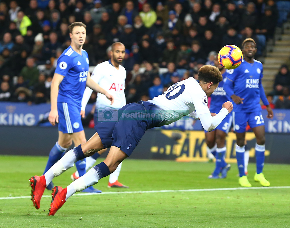 December 8, 2018 - Leicester, England, United Kingdom - Leicester, December 08, 2018.Tottenham Hotspur's Dele Alli scores Spurs 2nd goal.during the English Premier League match between Leicester City and Tottenham Hotspur at the King Power Stadium in Leicester, Britain, 8 December 2018  (Credit Image: © Action Foto Sport/NurPhoto via ZUMA Press)