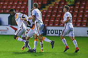 Bradford City forward, on loan from Huddersfield Town, Jordy Hiwula (11) scores a goal and celebrates to make the score 1-1 during the EFL Sky Bet League 1 match between Walsall and Bradford City at the Banks's Stadium, Walsall, England on 17 December 2016. Photo by Simon Davies.
