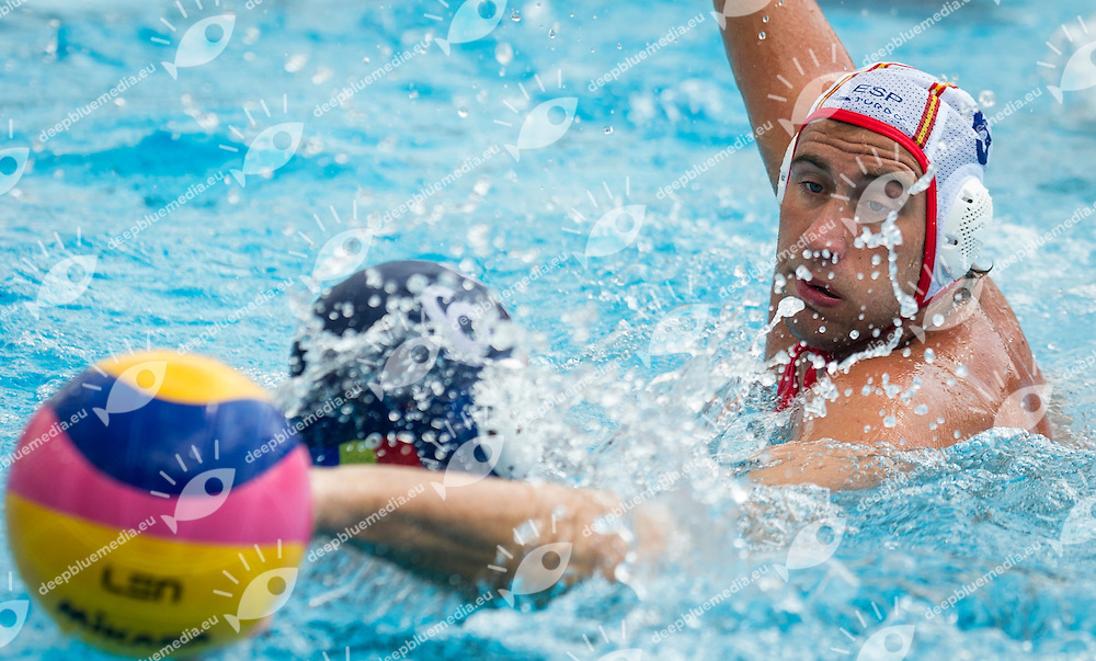 6 BUSILA Dan Andrei ROU<br /> 5  MOLINA RIOS Guillermo  ESP<br /> Spain (White) Vs Romania (Blue) Men<br /> LEN European Water Polo Championships 2014 - July 14-27<br /> Alfred Hajos -Tamas Szechy Swimming Complex<br /> Margitsziget - Margaret Island<br /> Day13 - July 26<br /> Photo Giorgio Scala/Inside/Deepbluemedia