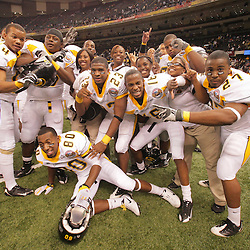 2008 November, 29: Grambling State University players celebrate on the field following their 29-14 victory over Southern University during the 35th annual State Farm Bayou Classic at the Louisiana Superdome in New Orleans, LA.  .