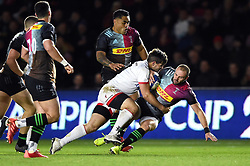 Ross Chisholm of Harlequins is tackled to ground - Mandatory byline: Patrick Khachfe/JMP - 07966 386802 - 13/12/2019 - RUGBY UNION - The Twickenham Stoop - London, England - Harlequins v Ulster Rugby - Heineken Champions Cup
