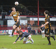 Alloa Athletic's Liam Lindsay heads clea, Dundee\s Peter MacDonald is the player grounded  - Dundee v Alloa Athletic, SPFL Championship at Dens Park<br /> <br />  - &copy; David Young - www.davidyoungphoto.co.uk - email: davidyoungphoto@gmail.com