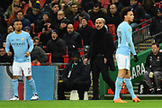 Manchester City manager Pep Guardiola in the technical area during the EFL Cup Final match between Arsenal and Manchester City at Wembley Stadium, London, England on 25 February 2018. Picture by Graham Hunt.